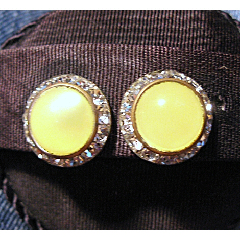 Lemon Yellow Moonglow and Rhinestone Screwback Earrings