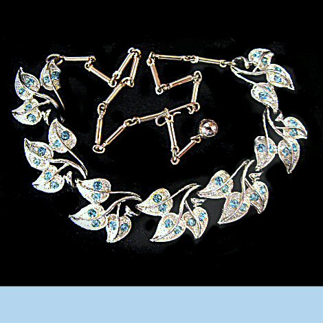 Blue Rhinestone Tri-Leaf Necklace