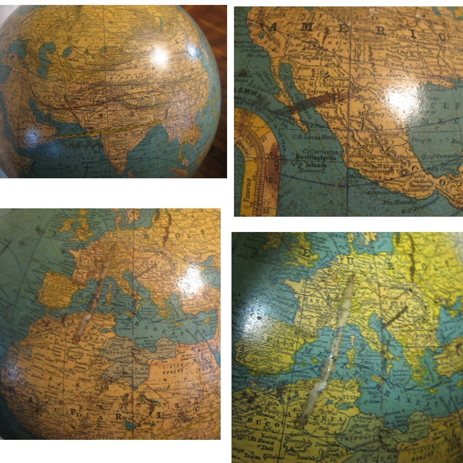 Rand McNally and Co New Twelve Inch Terrestrial Globe 1916 Rev